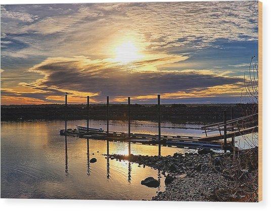 Bay Sunset Wood Print