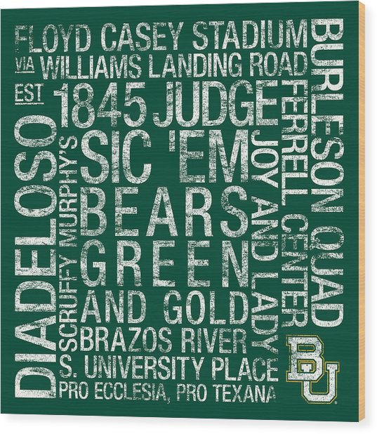 Baylor College Colors Subway Art Wood Print by Replay Photos
