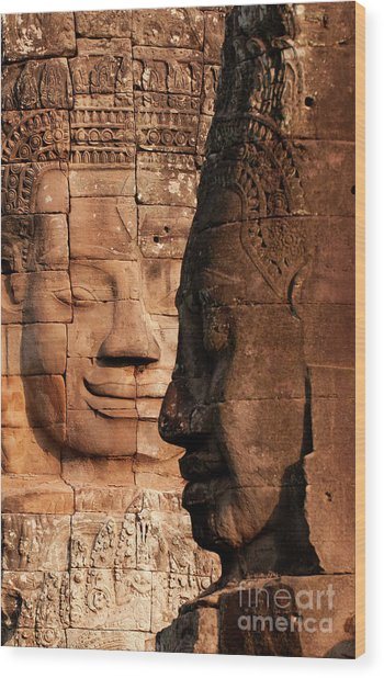 Bayon Faces 02 Wood Print