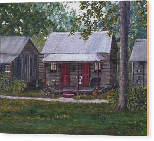 Bayou Cabins Art Breaux Bridge Louisiana Wood Print