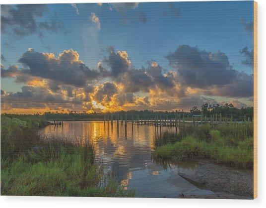 Bayou Sunrise Wood Print