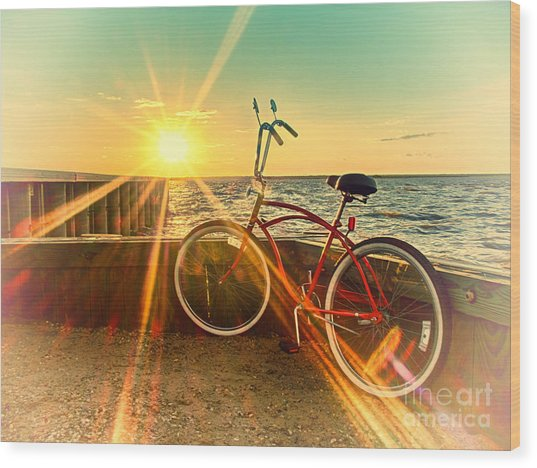 Bayside Sunset Wood Print