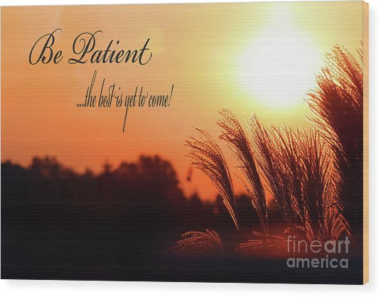 Be Patient Wood Print