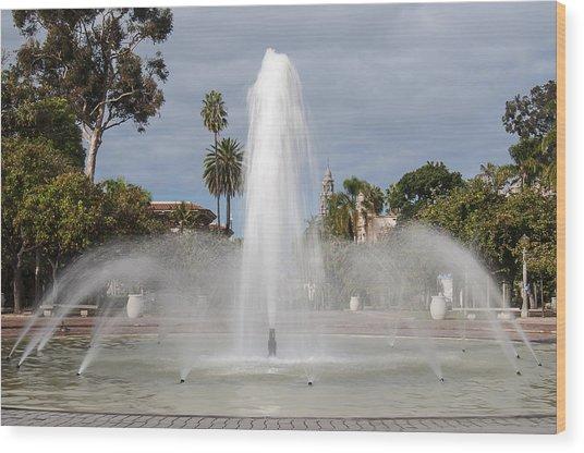 Bea Evenson Fountain In Balboa Park Wood Print