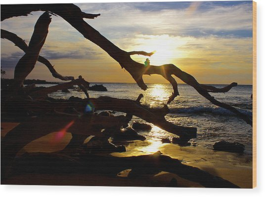 Beach 69 Hawaii At Sunset Wood Print