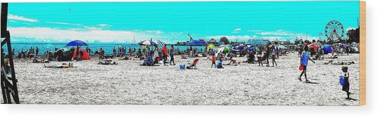 Beach And Carnival Wood Print
