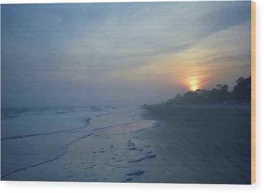 Beach And Sunset Wood Print