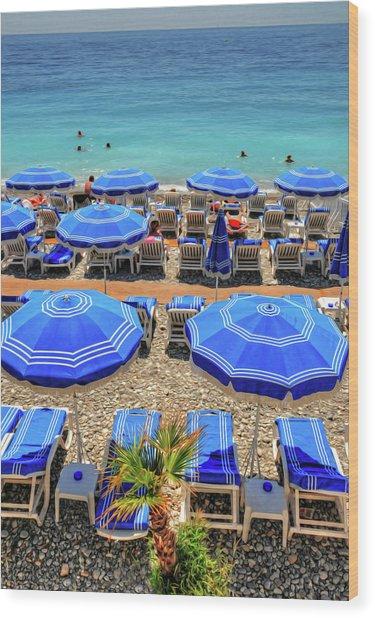 Beach At Nice France Wood Print
