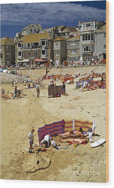 Beach At St Ives Cornwall Uk 1990 Wood Print by David Davies