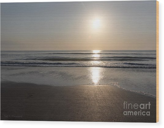 Beach At Sunrise Wood Print