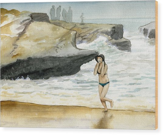 Beach At Sunset Cliffs Wood Print