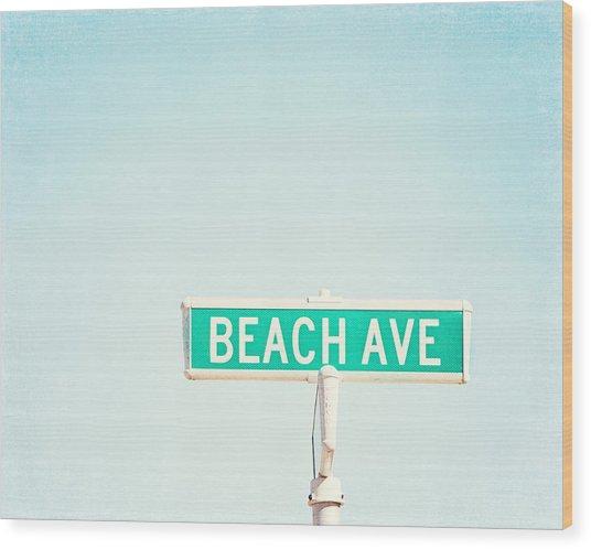 Beach Ave. Wood Print
