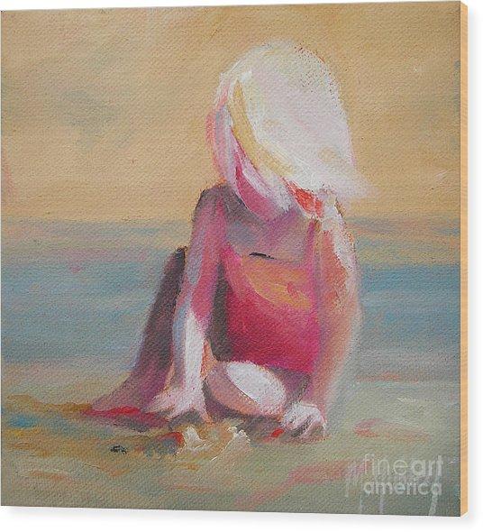 Beach Blonde Girl In The Sand Wood Print