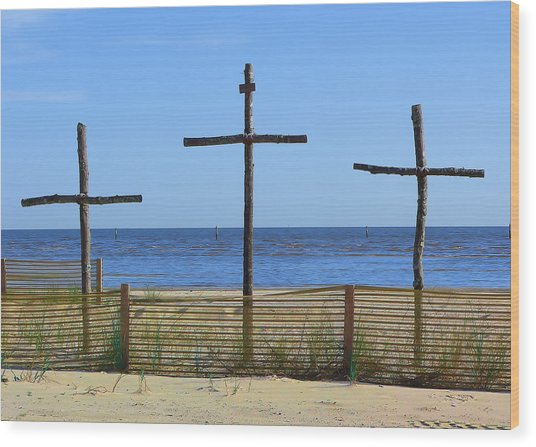 Beach Crosses Wood Print