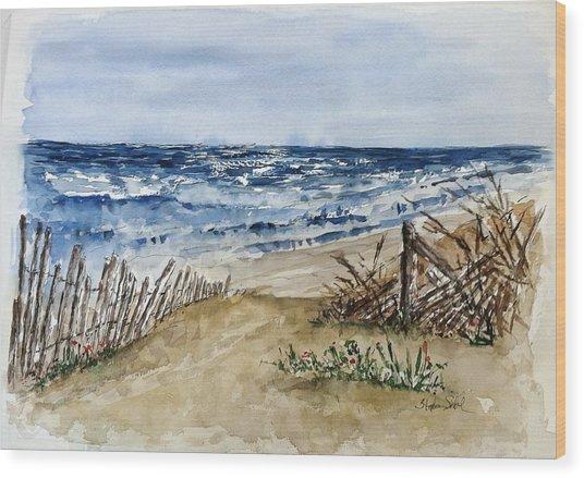 Beach Fence Wood Print by Stephanie Sodel