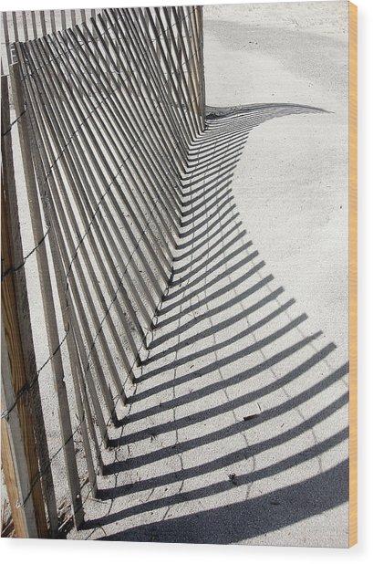 Beach Fence With Shadow Wood Print