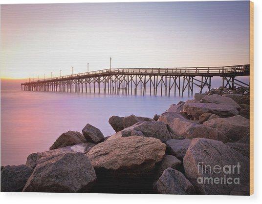 Beach Fishing Pier And Rocks At Sunrise Wood Print
