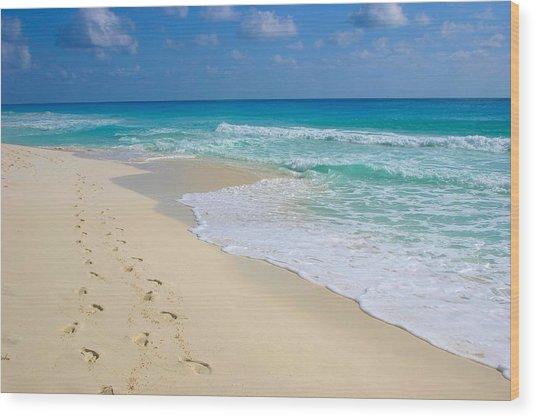 Beach Footprints Wood Print