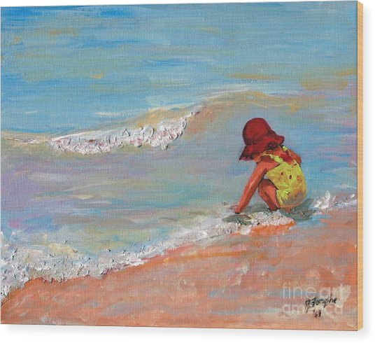 Beach Girl In Red Hat Wood Print