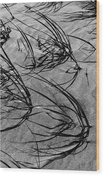Beach Grass Black And White Wood Print