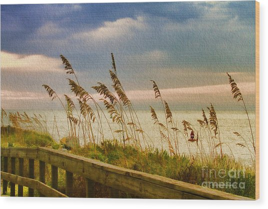 Beach Grass Wood Print