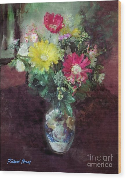 Beach House Flowers Wood Print