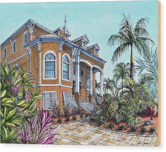 Magnolia Beach House Wood Print