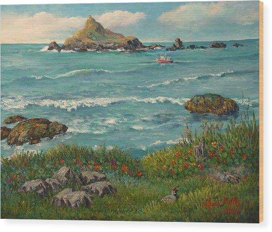Beach House View Wood Print