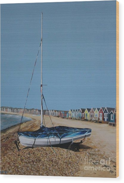 Beach Huts And Boat On The Spit Wood Print by Linda Monk
