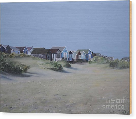 Beach Huts And Dunes Wood Print by Linda Monk