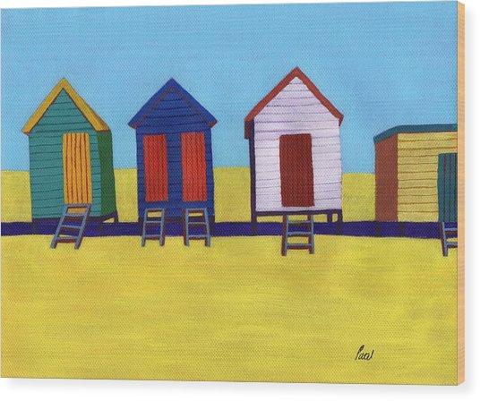 Beach Huts Wood Print by Bav Patel
