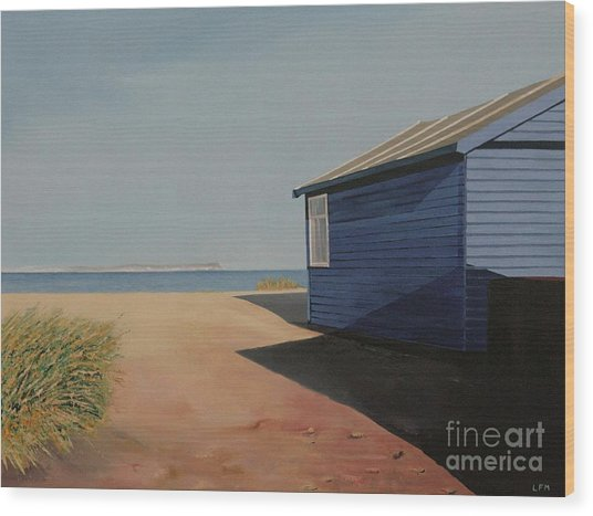 Beach Huts In The Sun Wood Print by Linda Monk