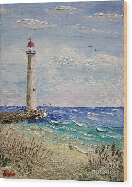 Beach Lighthouse Wood Print