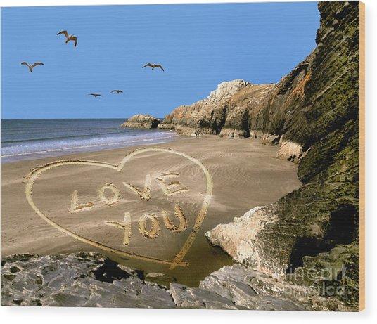 Beach Love Wood Print