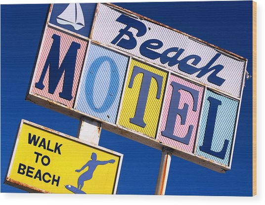 Beach Motel Wood Print