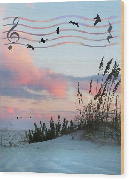 Beach Music Wood Print