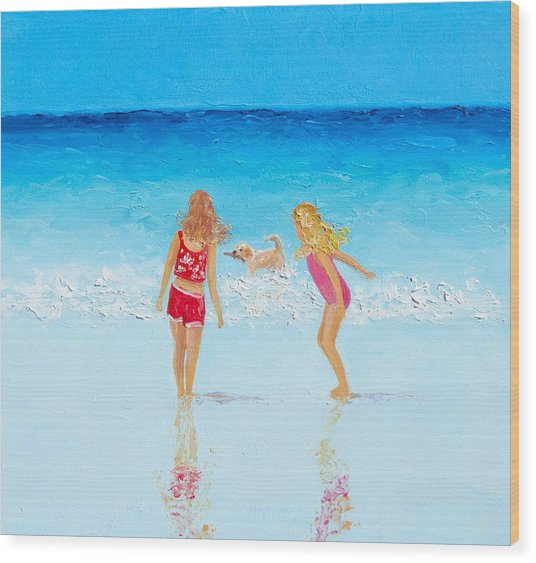 Beach Painting Beach Play Wood Print