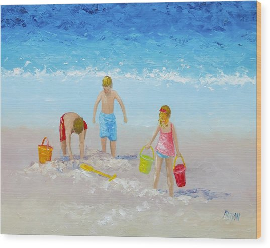 Beach Painting - Sandcastles Wood Print