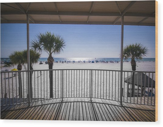 Beach Patio Wood Print