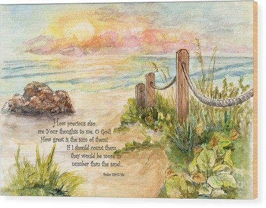 Beach Post Sunrise Psalm 139 Wood Print