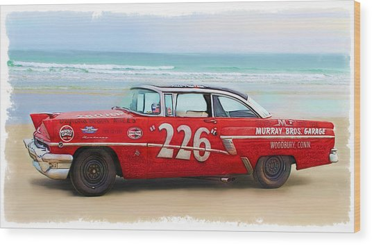 Beach Race Car 226 Wood Print