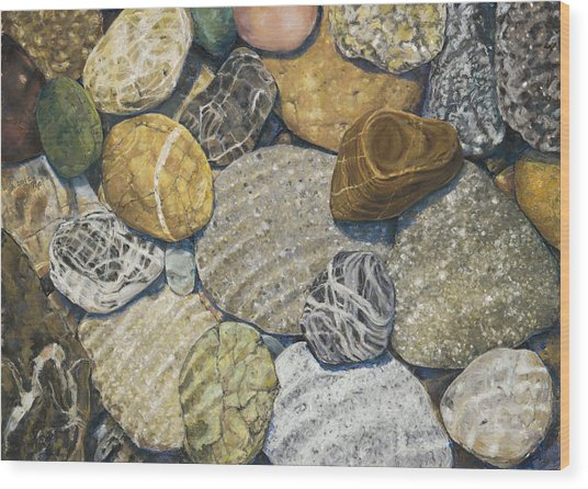 Beach Rocks 3 Wood Print