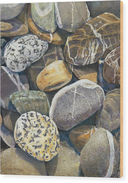 Beach Rocks 4 Wood Print