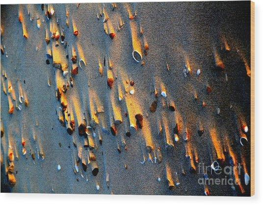Beach Sand On Sunset Wood Print by Arie Arik Chen