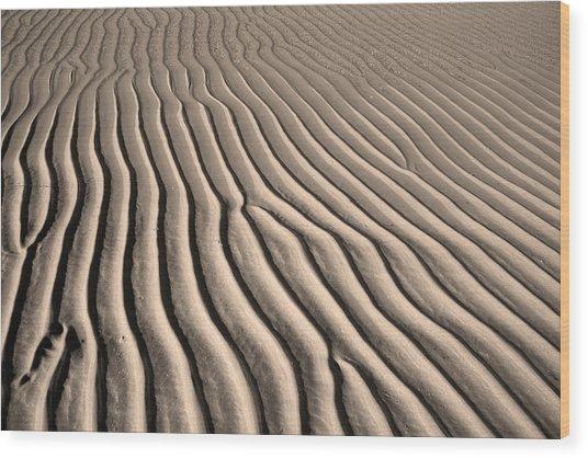 Beach Sand Ripples Wood Print by Brooke T Ryan