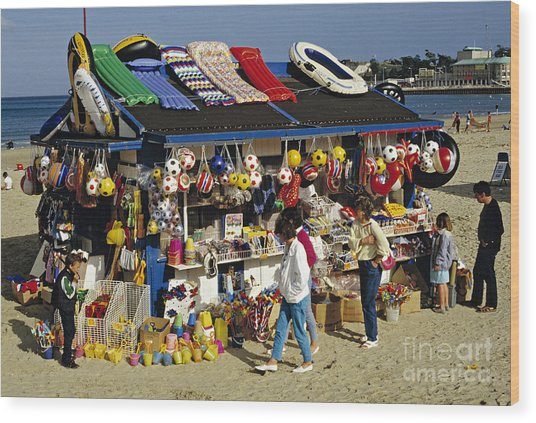Beach Scene Weymouth Uk 80s Wood Print by David Davies