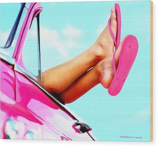 Beach Slippers - Summer Time Serie Wood Print