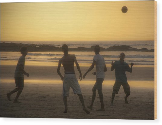 Beach Soccer At Sunset Wood Print