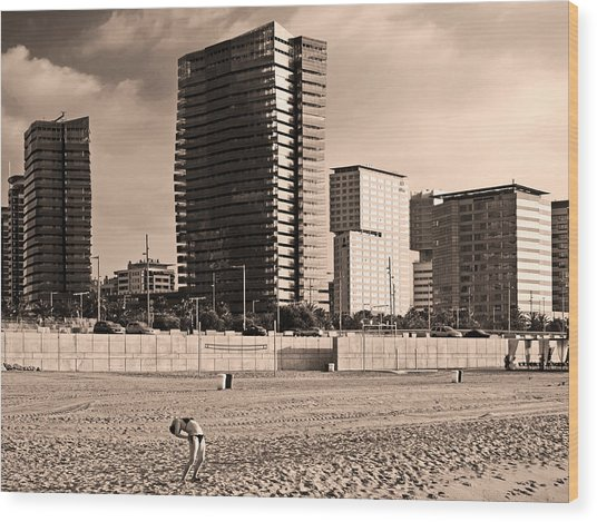 Wood Print featuring the photograph beach, Barcelona by Stefano Buonamici