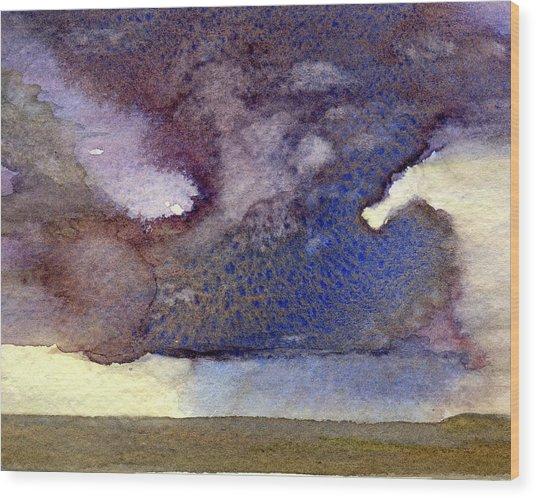 Beach Storm Cloud Wood Print